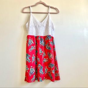 Maurices Floral Dress with crochet detailed top